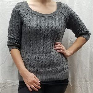 Gray American Eagle Cable Knit Sweater